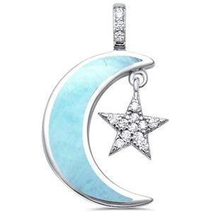 natural larimar crescent moon star